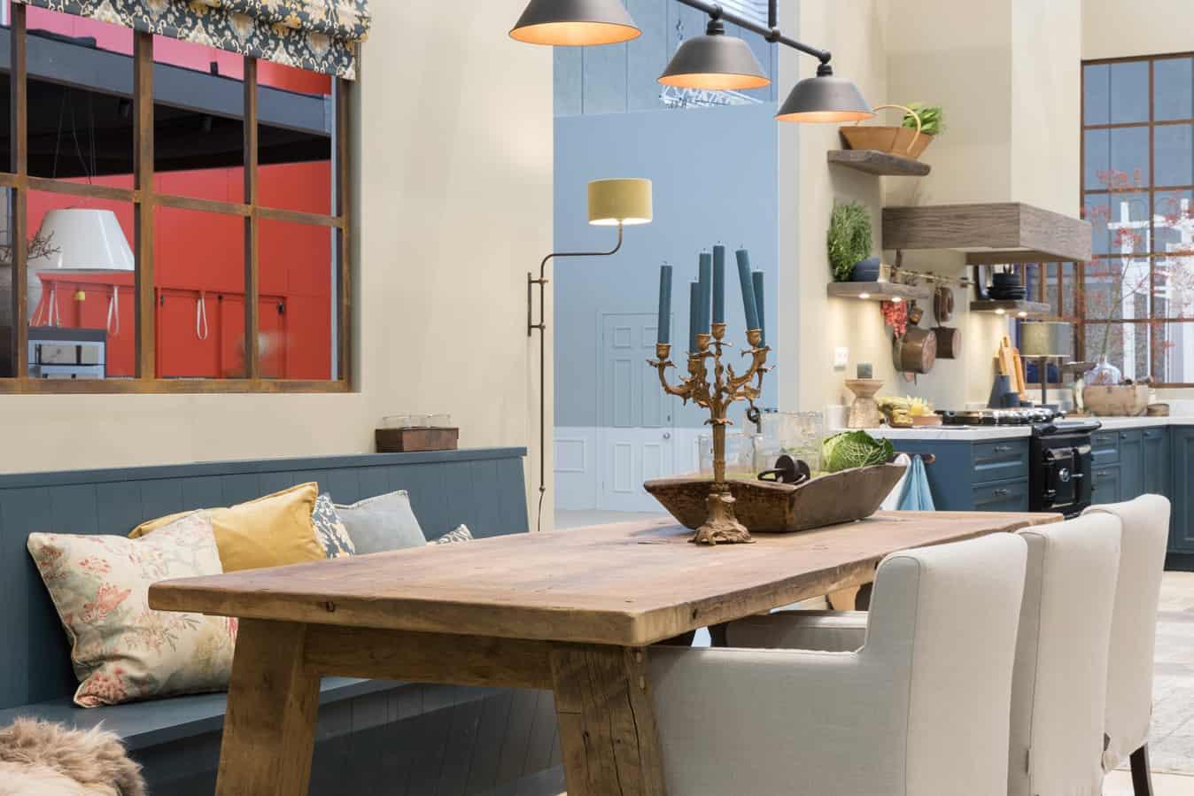 Blauwe woonkeuken landelijke stijl
