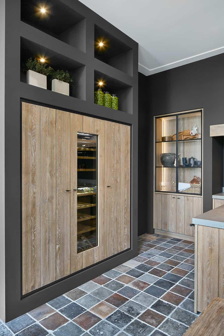 Houten koelkast inbouw woonkeuken